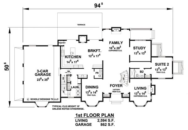 European Floor Plan - Main Floor Plan Plan #20-2210