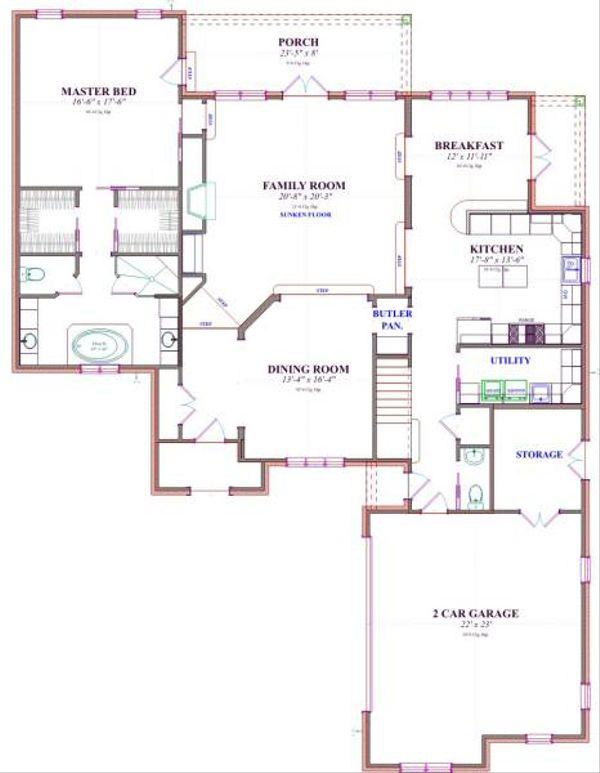European Floor Plan - Main Floor Plan Plan #63-177