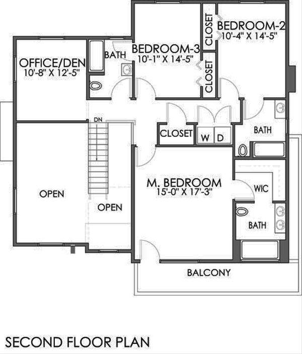 Modern Floor Plan - Upper Floor Plan #518-4