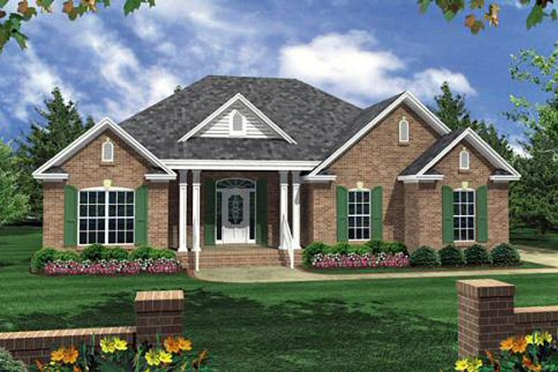 Southern Exterior - Front Elevation Plan #21-207