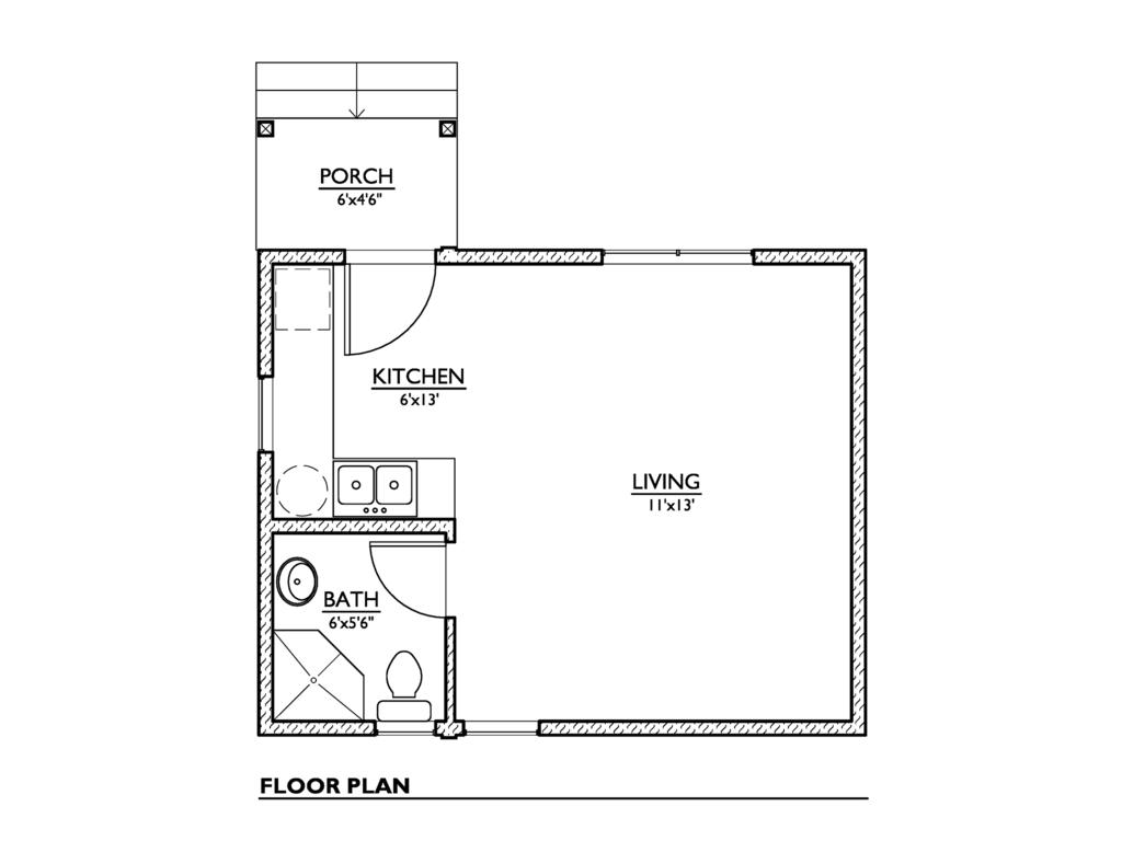 Modern Style House Plan 1 Beds Baths 320 Sq Ft 890
