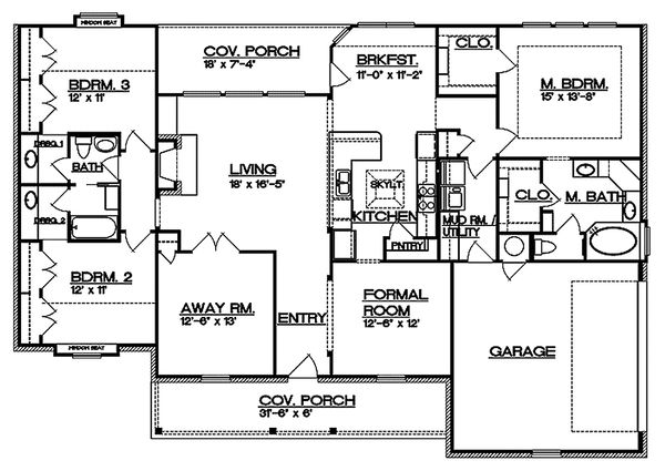 Country Floor Plan - Main Floor Plan Plan #935-1