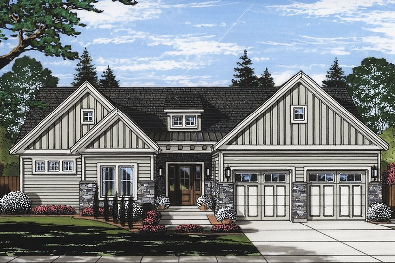 Ranch Style House Plan - 3 Beds 2 Baths 1871 Sq/Ft Plan #46-874 Exterior - Front Elevation