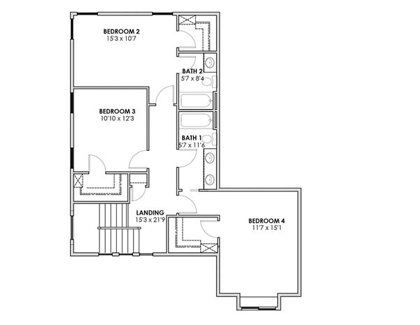 Prairie Floor Plan - Upper Floor Plan Plan #1069-10
