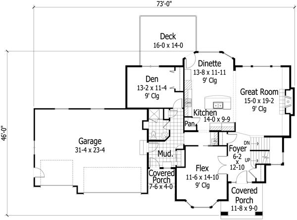 Traditional Floor Plan - Main Floor Plan Plan #51-496