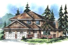 House Blueprint - European Exterior - Front Elevation Plan #18-248