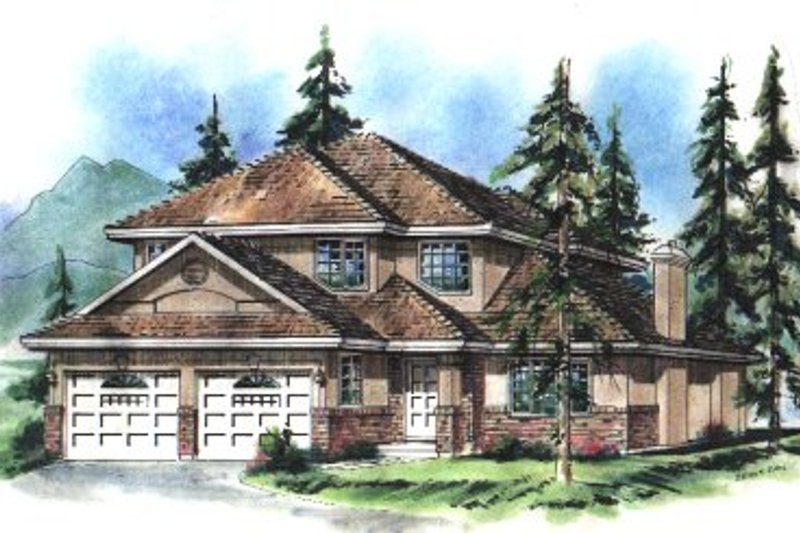 Architectural House Design - European Exterior - Front Elevation Plan #18-248