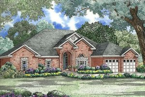 Southern Exterior - Front Elevation Plan #17-1048