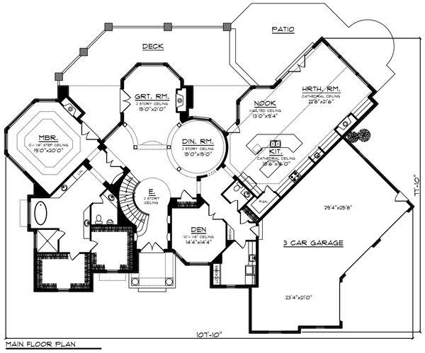 Home Plan - Traditional Floor Plan - Main Floor Plan #70-1434