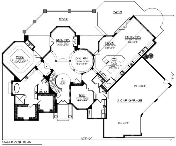 House Plan Design - Traditional Floor Plan - Main Floor Plan #70-1434