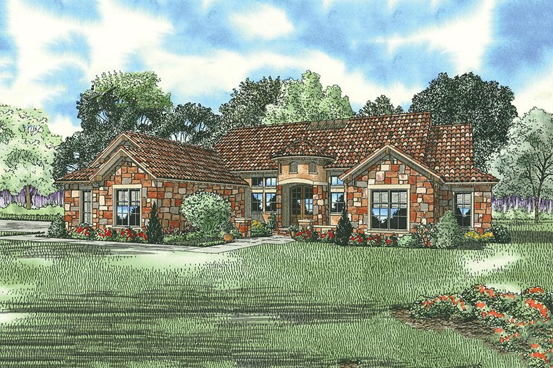 European Style House Plan - 4 Beds 3 Baths 2609 Sq/Ft Plan #17-208 Exterior - Front Elevation