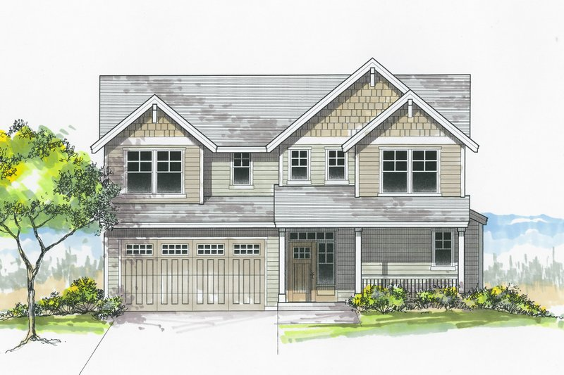 Architectural House Design - Craftsman Exterior - Front Elevation Plan #53-605