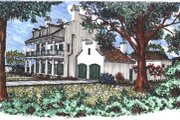 Mediterranean Style House Plan - 4 Beds 5 Baths 3283 Sq/Ft Plan #76-105 Exterior - Front Elevation
