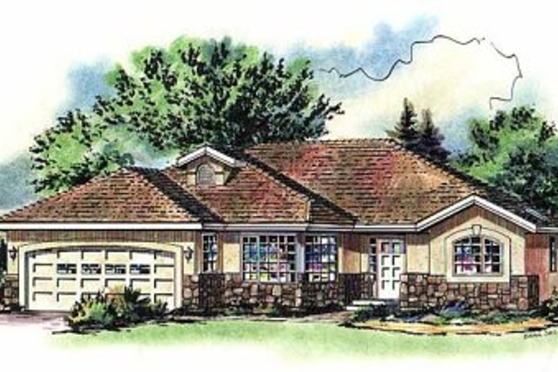 House Blueprint - Ranch Exterior - Front Elevation Plan #18-189
