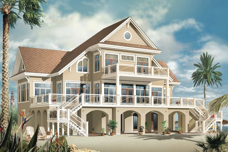 Beach Style House Plan - 4 Beds 3.5 Baths 4959 Sq/Ft Plan #23-854 Exterior - Rear Elevation