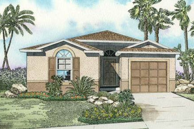 Modern Style House Plan - 4 Beds 2 Baths 1407 Sq/Ft Plan #420-202 Exterior - Front Elevation