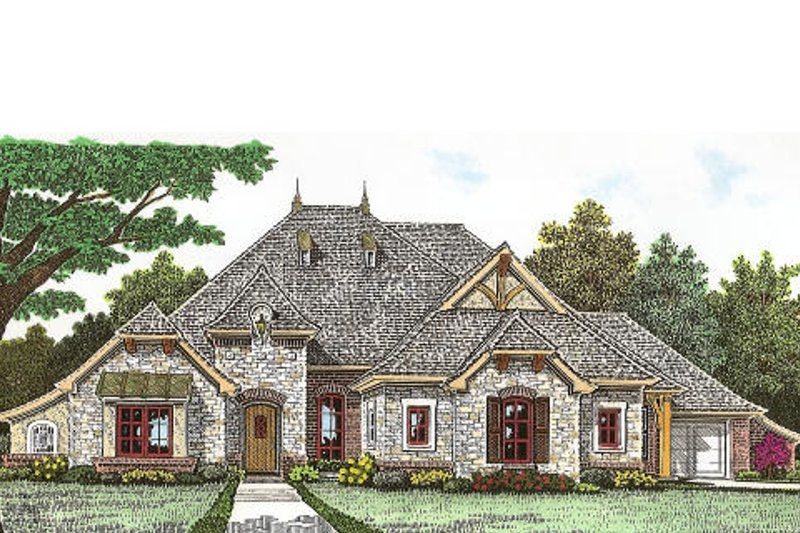 Tudor Exterior - Front Elevation Plan #310-967