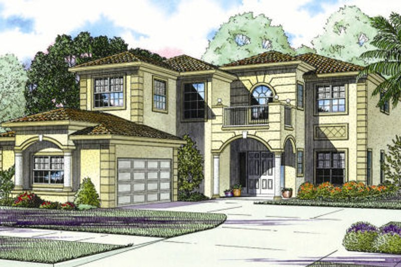 Mediterranean Style House Plan - 5 Beds 5 Baths 4731 Sq/Ft Plan #420-239 Exterior - Front Elevation