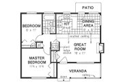 Country Style House Plan - 2 Beds 1 Baths 728 Sq/Ft Plan #18-1039 Floor Plan - Main Floor Plan