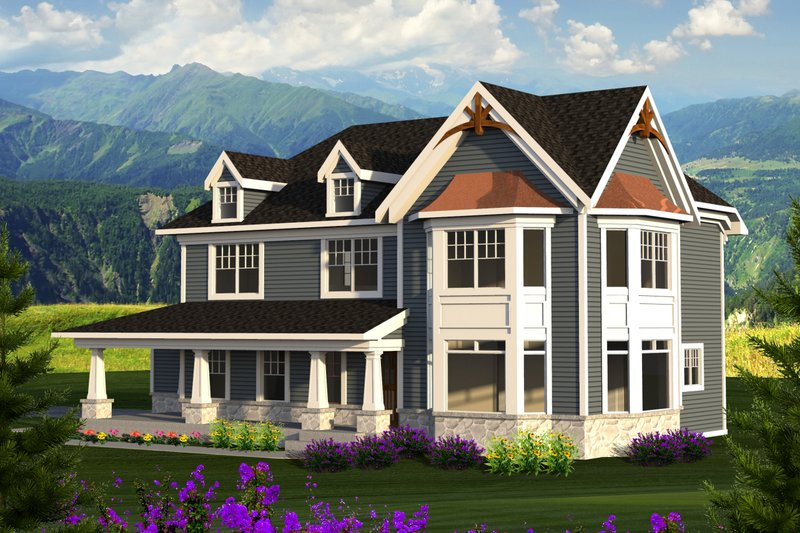 Country Exterior - Front Elevation Plan #70-1222