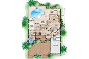 Mediterranean Style House Plan - 5 Beds 4.5 Baths 4381 Sq/Ft Plan #27-384 Floor Plan - Main Floor Plan