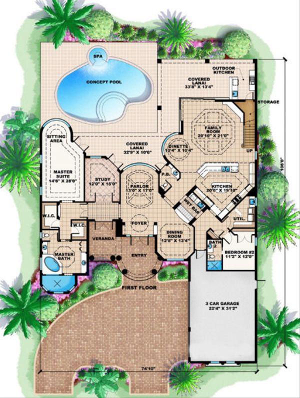 Mediterranean Floor Plan - Main Floor Plan Plan #27-384