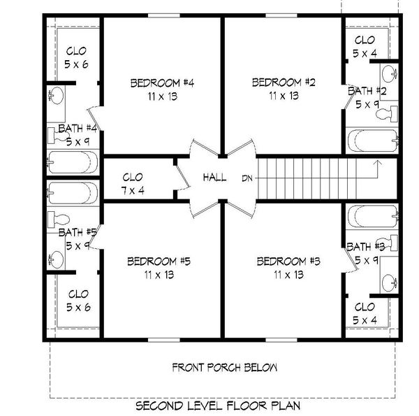 Traditional Floor Plan - Upper Floor Plan Plan #932-164