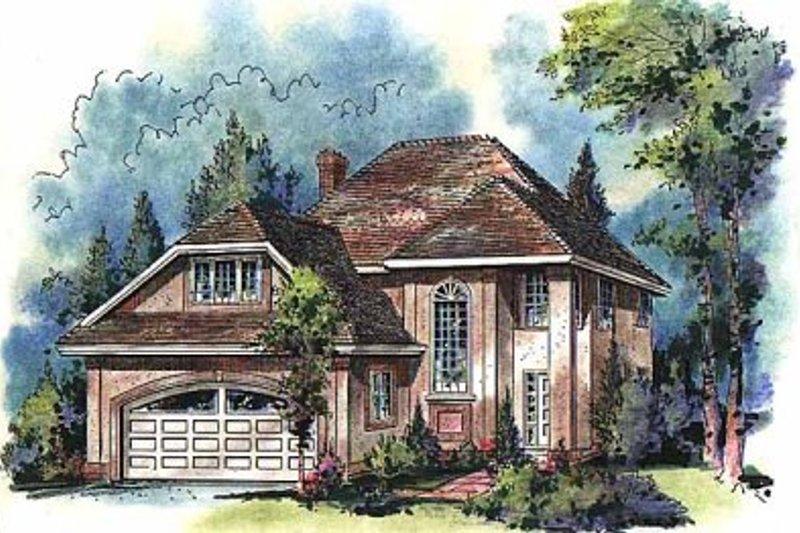 House Blueprint - European Exterior - Front Elevation Plan #18-204