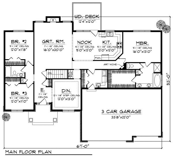 Mediterranean Floor Plan - Main Floor Plan Plan #70-869