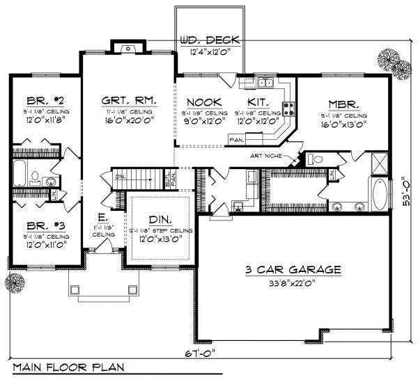 Mediterranean Floor Plan - Main Floor Plan Plan #70-869