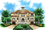 Mediterranean Style House Plan - 4 Beds 5.1 Baths 9329 Sq/Ft Plan #27-529 Exterior - Front Elevation