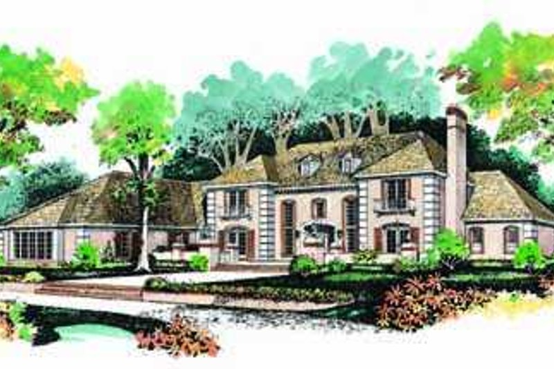 European Style House Plan - 5 Beds 5 Baths 4648 Sq/Ft Plan #72-194 Exterior - Front Elevation