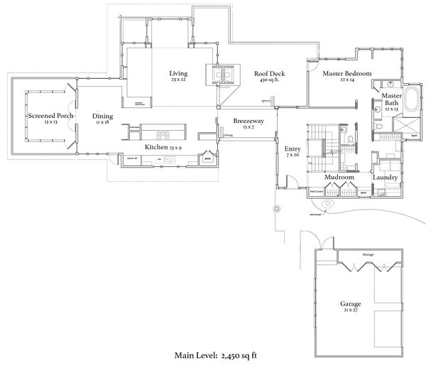 Craftsman Floor Plan - Main Floor Plan Plan #454-14