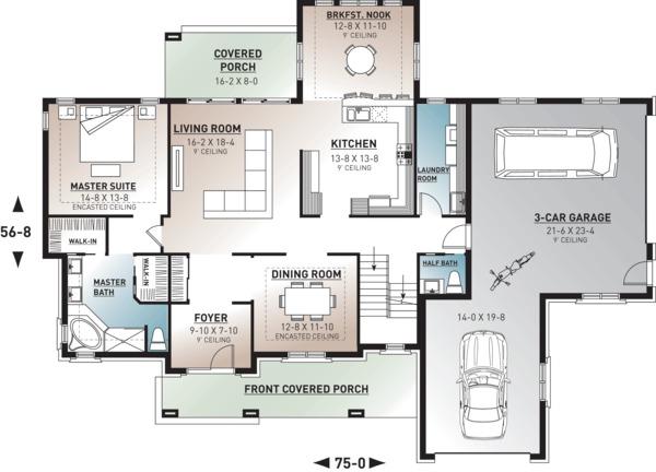 Traditional Floor Plan - Main Floor Plan Plan #23-831