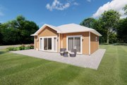 Cottage Style House Plan - 1 Beds 1 Baths 796 Sq/Ft Plan #126-222 Exterior - Rear Elevation