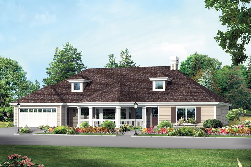 Home Plan - Country Exterior - Front Elevation Plan #57-689