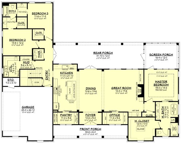Architectural House Design - Farmhouse Floor Plan - Main Floor Plan #430-224