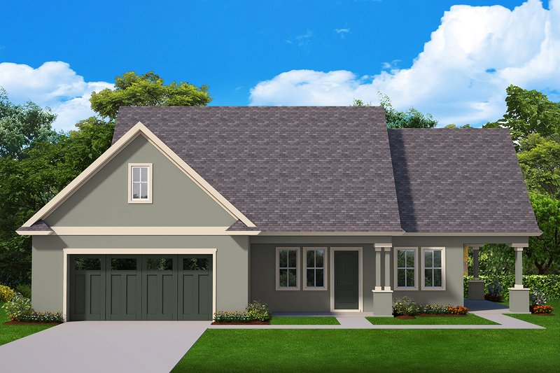 Ranch Style House Plan - 1 Beds 1.5 Baths 1122 Sq/Ft Plan #1058-179 Exterior - Front Elevation