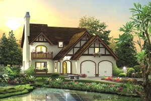 Dream House Plan - European Exterior - Front Elevation Plan #57-694