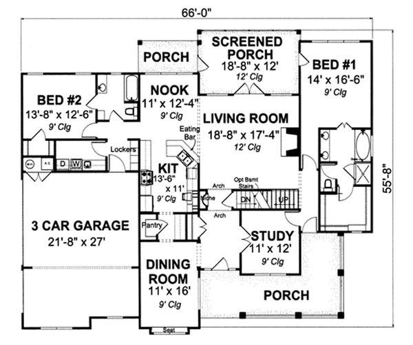 Farmhouse Floor Plan - Main Floor Plan Plan #513-2046