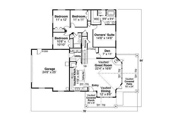 Craftsman Floor Plan - Main Floor Plan #124-1184