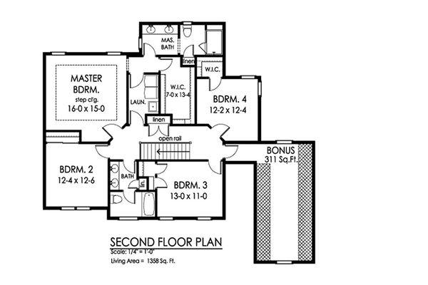 Traditional Floor Plan - Upper Floor Plan Plan #1010-226