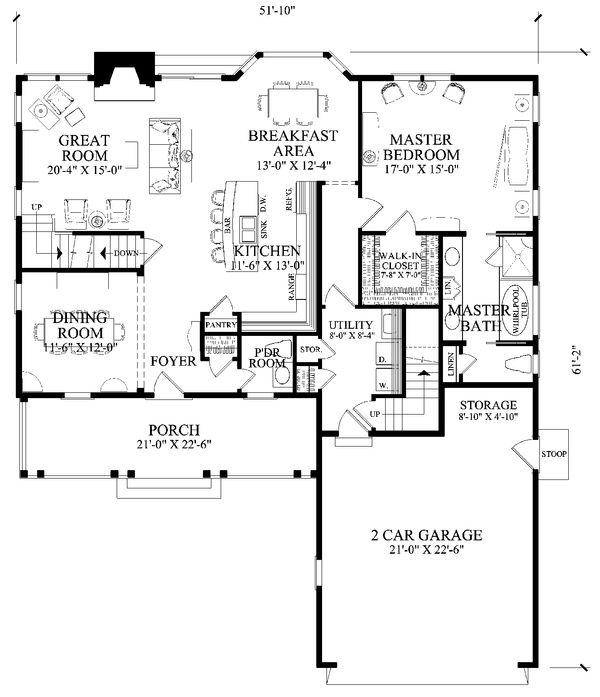 Home Plan - Traditional Floor Plan - Main Floor Plan #137-290