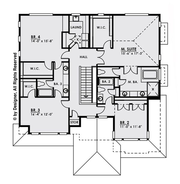 Modern Floor Plan - Upper Floor Plan Plan #1066-9