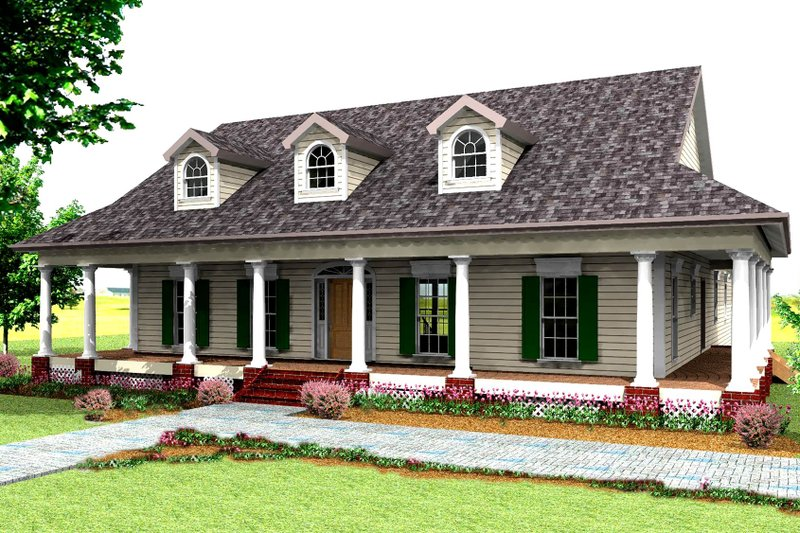 Country Exterior - Front Elevation Plan #44-121 - Houseplans.com