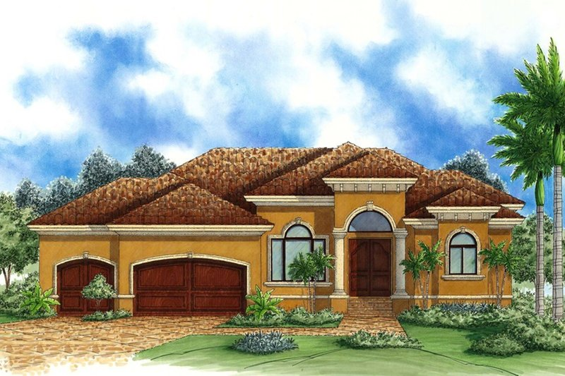 Mediterranean Style House Plan - 4 Beds 3 Baths 3733 Sq/Ft Plan #27-511 Exterior - Front Elevation
