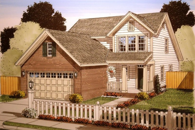 Cottage Style House Plan - 3 Beds 2.5 Baths 1549 Sq/Ft Plan #513-11 Exterior - Front Elevation