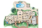 European Style House Plan - 5 Beds 5.5 Baths 17594 Sq/Ft Plan #27-564 Floor Plan - Main Floor
