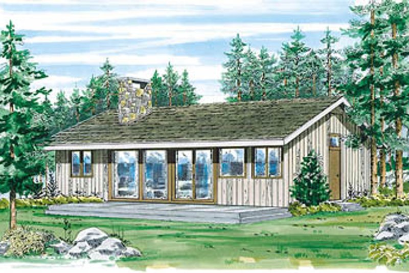 Cabin Style House Plan - 3 Beds 1 Baths 950 Sq/Ft Plan #47-109 Exterior - Front Elevation