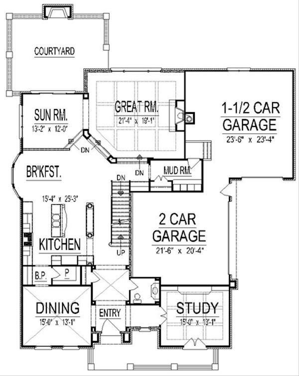 European Floor Plan - Main Floor Plan Plan #458-17